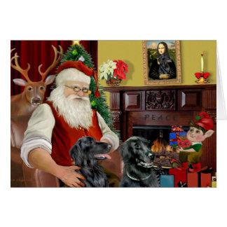 Santa s Two Flat Coated Retrievers Greeting Card
