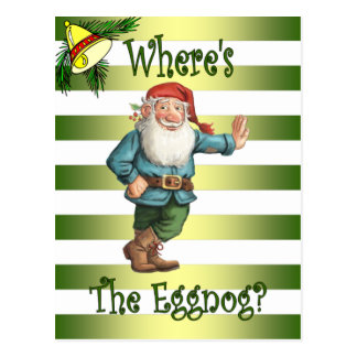 Santa's Workshop ~ Eggnog Elf~ Christmas ~Holiday~ Postcard