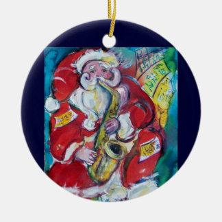 SANTA & SAX  CHRISTMAS PARTY Red Ruby Gem Christmas Ornament