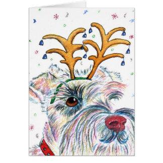 Santa Schnauzer Greeting Card
