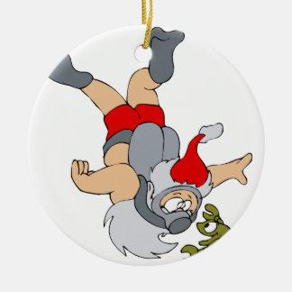 Santa scuba diving round ceramic decoration