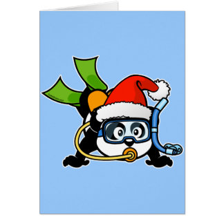 Santa Scuba Panda Card