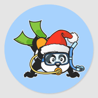 Santa Scuba Panda Round Stickers