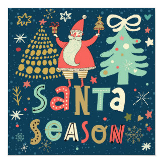 Santa Season 13 Cm X 13 Cm Square Invitation Card