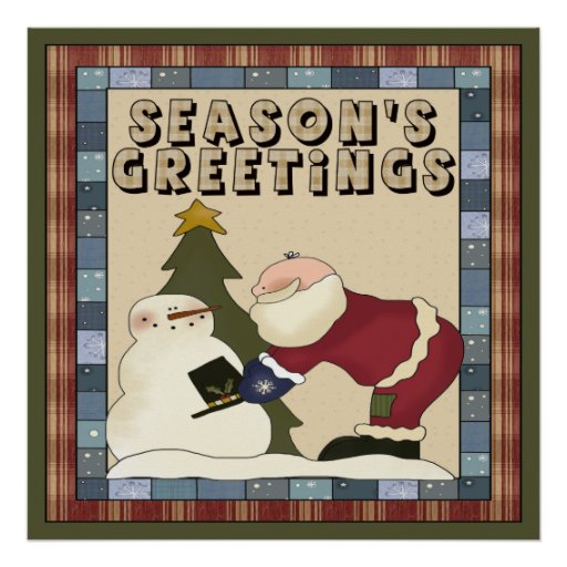 Santa Seasons Greetings Poster