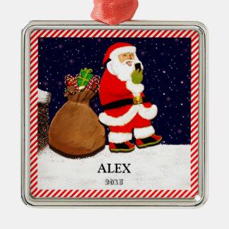 Santa Selfie Christmas Ornament