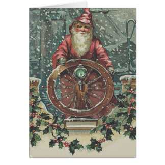 Santa Ship Boat Snow Storm Holly Card