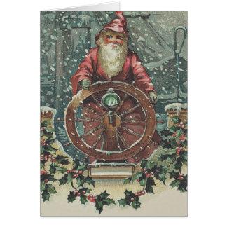 Santa Ship Boat Snow Storm Holly Greeting Card