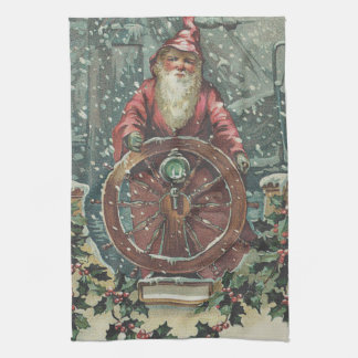 Santa Ship Boat Snow Storm Holly Tea Towel