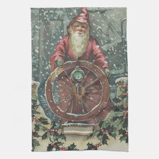 Santa Ship Boat Snow Storm Holly Towel