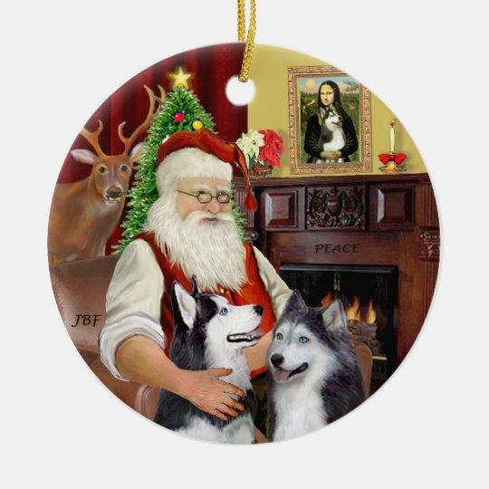 Santa - Siberian Huskies (TWO) Christmas Ornament