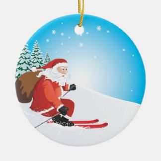 Santa Ski Ornament