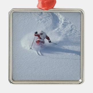 Santa Skiing at Snowbird Ski Resort, Wasatch Silver-Colored Square Decoration