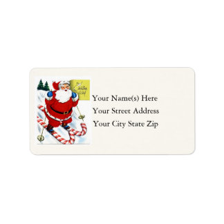 Santa Skiing on Candy Canes Vintage Address Label