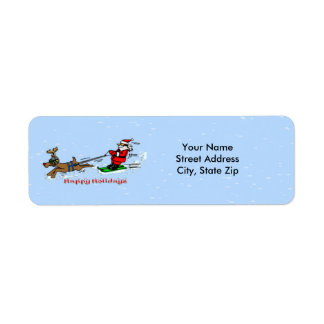 Santa Skiing Return Address Label