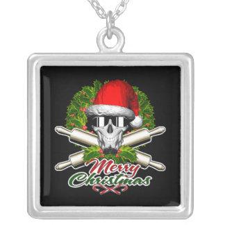 Santa Skull Baker: Merry Christmas Square Pendant Necklace