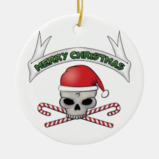 Santa Skull Crossbones Christmas Ornament