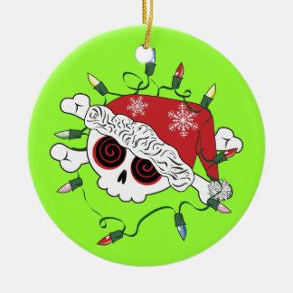 Santa Skull Double-Sided Ceramic Round Christmas Ornament