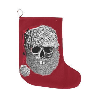 Santa skull large christmas stocking