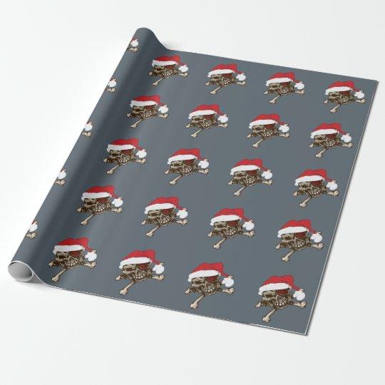 Santa Skull Pirate Holiday gift wrapping paper