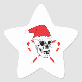 Santa Skull with Christmas Hat Star Sticker