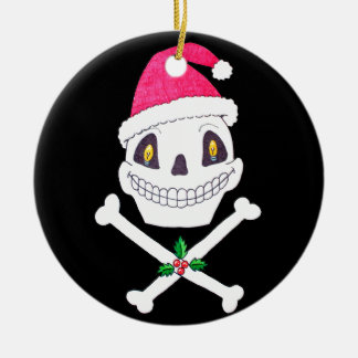 Santa Skull with Holly Leaves Christmas Ornament
