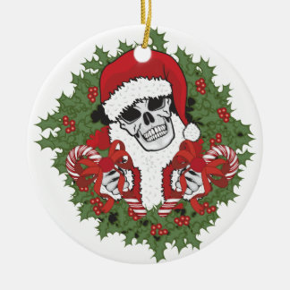 Santa Skull with Wreath Round Ceramic Decoration