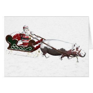 Santa Sled Pulled By Hippopotamus Card