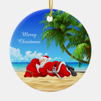 santa sleeping on the beach christmas ornament