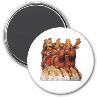 Santa Sleigh 7.5 Cm Round Magnet