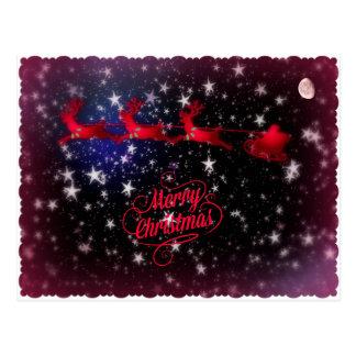 Santa sleigh among stars postcard