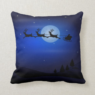 Santa Sleigh and Reindeer Flying Throw Pillow