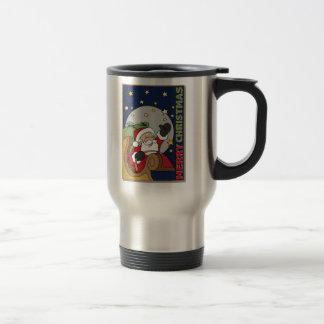 Santa Sleigh Illustration Merry Christmas Stainless Steel Travel Mug