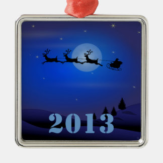Santa Sleigh Reindeer 2013 Christmas Silver-Colored Square Decoration
