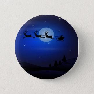 Santa, Sleigh, Reindeer, and Moonlit Landscape 6 Cm Round Badge