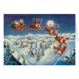 SANTA, SLEIGH & REINDEER by SHARON SHARPE Card