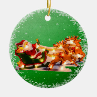 Santa Sleigh & Reindeer Christmas Lights Ornament