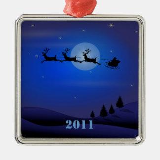 Santa Sleigh Reindeer Christmas Ornament