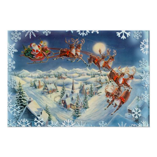 SANTA, SLEIGH  & SNOWFLAKES by SHARON SHARPE Poster