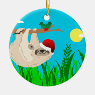 santa sloth christmas ornament