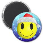 Santa Smiley 6 Cm Round Magnet