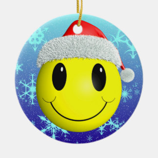 Santa Smiley Round Ceramic Decoration