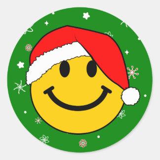 Santa Smiley Round Sticker