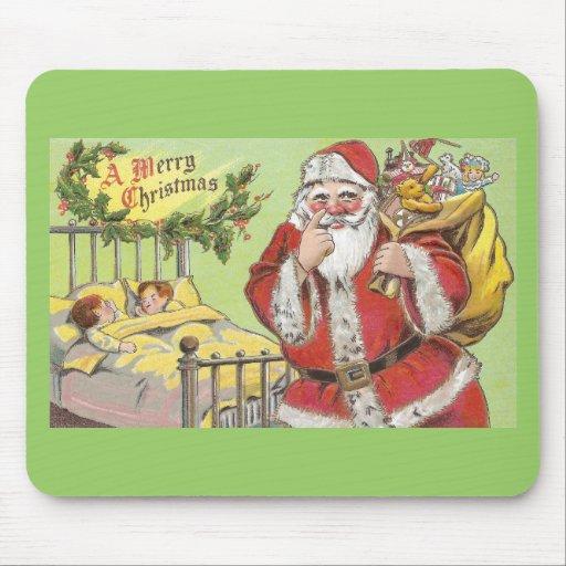 Santa Sneaks By Sleeping Kids Vintage Christmas Mouse Pad