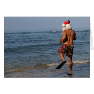 Santa Snorkels Hawaii Card