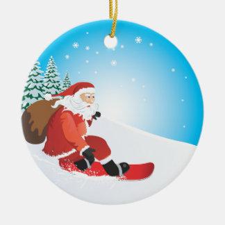 Santa Snowboard Ornament