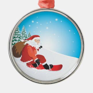 Santa Snowboard Premium Ornament