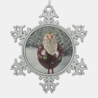 Santa Snowflake Pewter Christmas Ornament