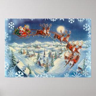 SANTA SNOWFLAKES & SLEIGH by SHARON SHARPE Print