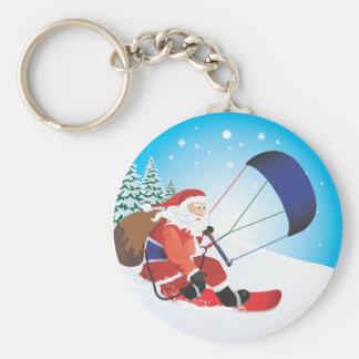 Santa Snowkite Snowboard Keychain
